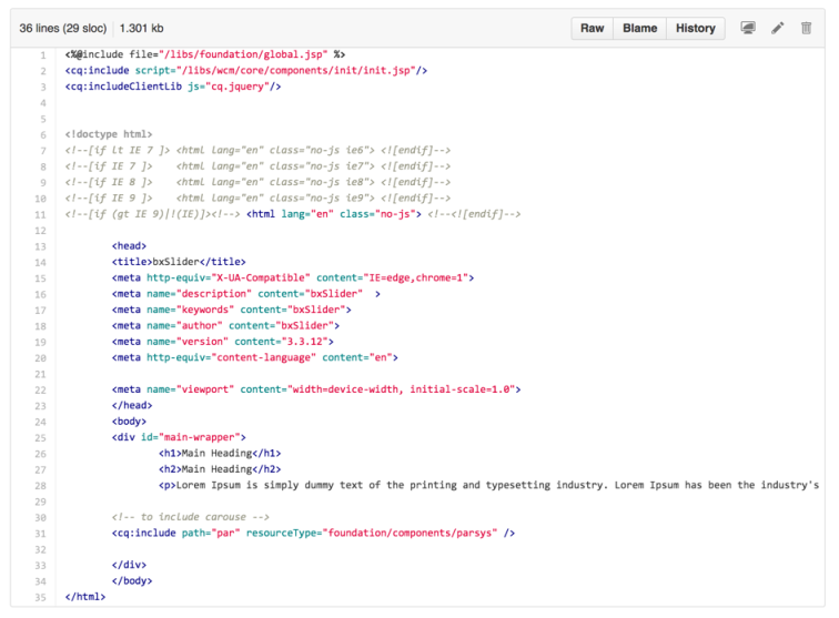 Image 5: Content Page Template Code